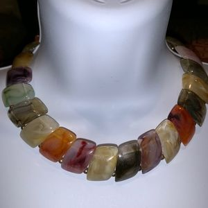 Multicolored faux stone necklace